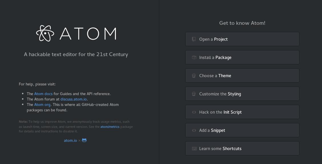 Atom welcom